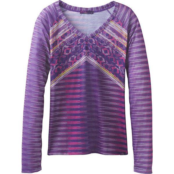 PrAna Baseball Portfolio V Neck T-Shirt - S - Amethyst Tribe - Shirts ($59) ❤ liked on Polyvore featuring tops, t-shirts, purple, baseball shirts, tribal shirts, t shirt, prana shirts and baseball t shirt