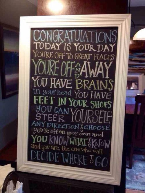 "A nice graduation party decoration. Quote from Dr. Seuss' ""Oh the Places You Will Go."""