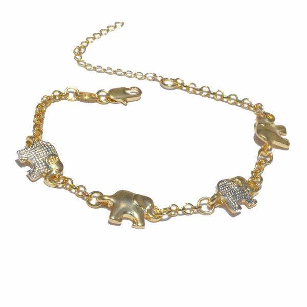 10438f3 18kt Brazilian Gold Filled Two Tone Elephant Bracelet