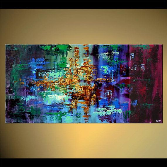 """Colorful Abstract Painting Blue Green Turquoise Modern Palette Knife acrylic Painting Original From Osnat - MADE-TO-ORDER - 48""""x24"""""""
