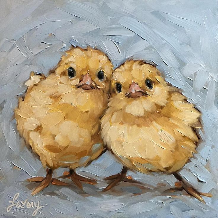 6×6″ oil on panel. Small study for a larger piece I'm commissioned to do. First time doing baby chicks. They are cute …