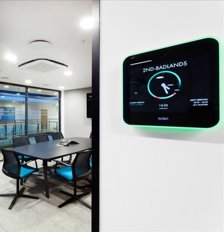 Meeting Room Booking System >> Workplace Technology >> This meeting room at AMC Networks was one of many that we fitted with digital control panels to help increase utilisation and combat no-shows, whilst also encouraging ad-hoc usage. See more great ideas from this office design project on our website...