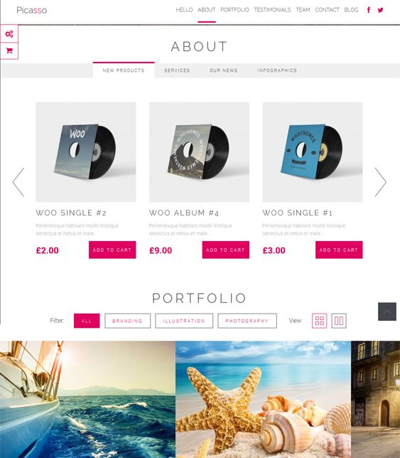 Picasso is a WooCommerce compatible one page WordPress template with premium slider, pricing table editor, drag and drop page builder, unlimited color options, Google Font support, and more.