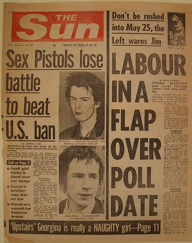 "Sex Pistols banned from U.S.A, The Sun newspaper, 1977  The Sun newspaper front page for Friday 30 December 1977, with the headline: ""Sex Pistols lose battle to beat U.S. ban"". Underneath the headline was the following article:   They were banned because lead singer Johnny Rotten and three other members of the group have criminal records. An Embassy spokesman simply announced: ""The Sex Pistols are ineligible for visas to the United States."""