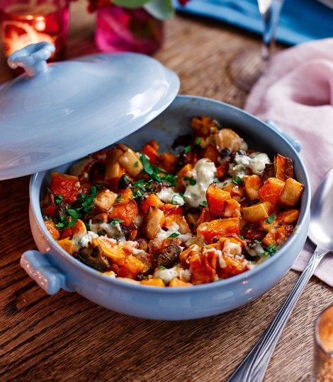 Roast-squash-with-blue-cheese-and-pickled-walnuts