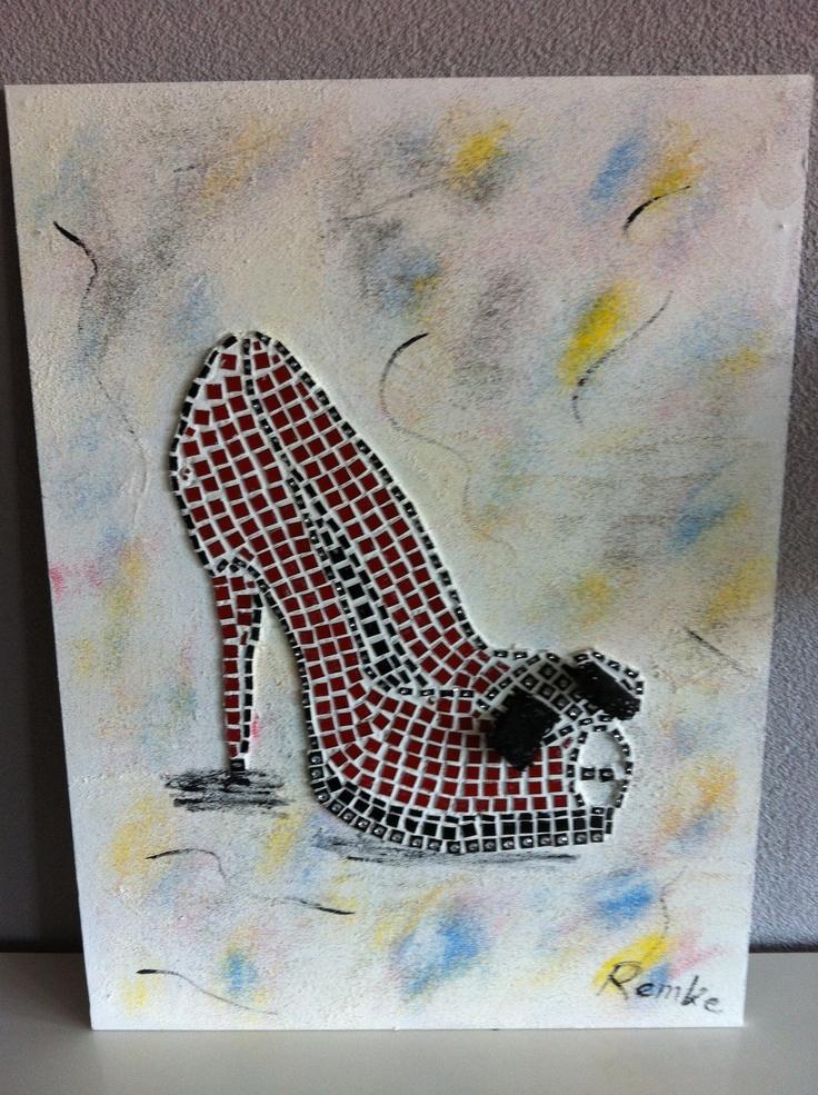 Dames schoen van mozaiek.