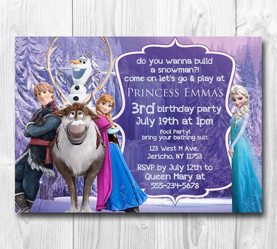 25 Printed Frozen Birthday Invitation, Queen Elsa, Princess Anna, Olaf, Frozen Invite, Elsa, Anna