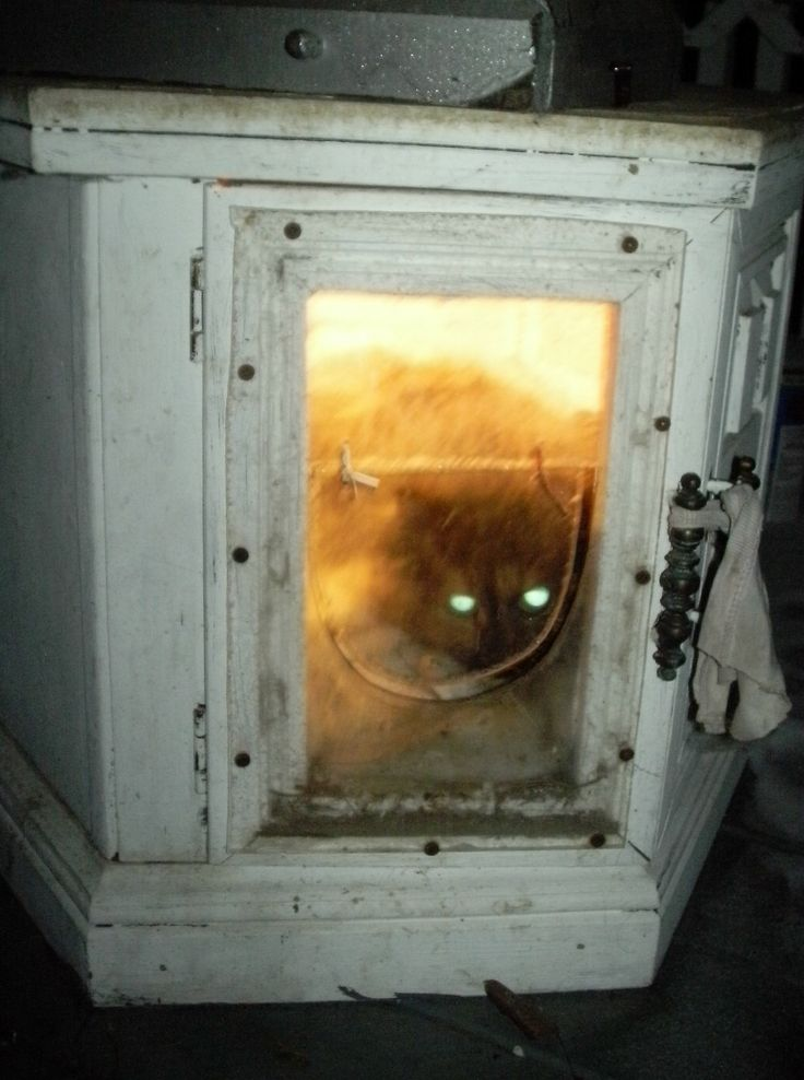Octagon End Table Made Into Heated Cat House 1 Panel