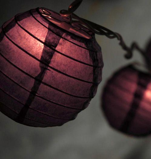 "Purple Paper Lanterns String Lights 10 Lanterns (10'8"") white wire $9.99 each / 3 for $8 each"