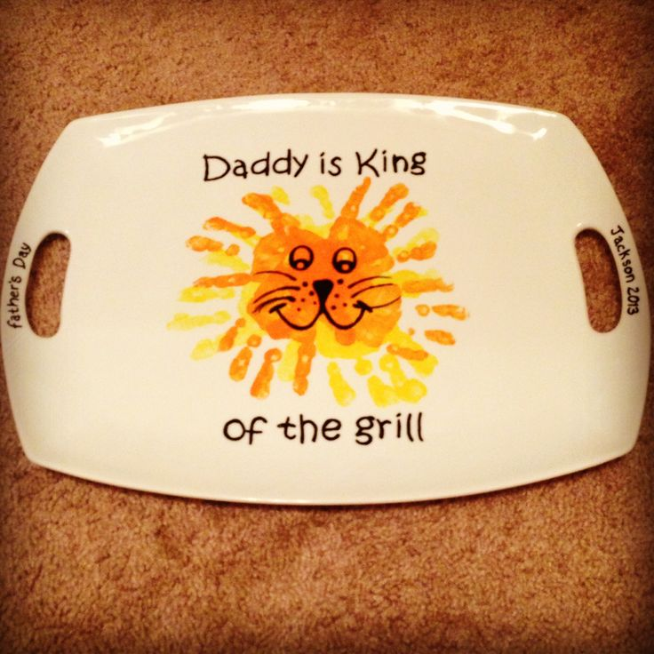 Father's Day gift ideas. Bought dish at bed bath & beyond. Ceramic paint. Steady hand to draw and tiny hand prints from one very loving son. Daddy is King of the Grill!