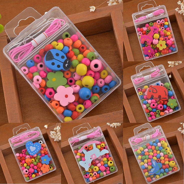 1box colorful wood beads kit necklace bracelet diy kids for Bead craft ideas for kids