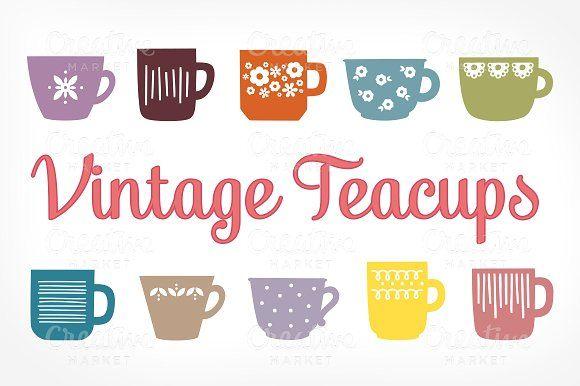 Vintage Teacups Illustrations by Little Bean on @creativemarket