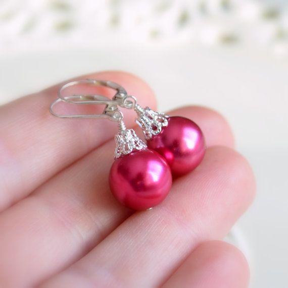 NEW Hot Pink Christmas Earrings Holiday Jewelry by livjewellery https://www.etsy.com/listing/213986234/new-hot-pink-christmas-earrings-holiday?ref=shop_home_active_15&ga_search_query=new
