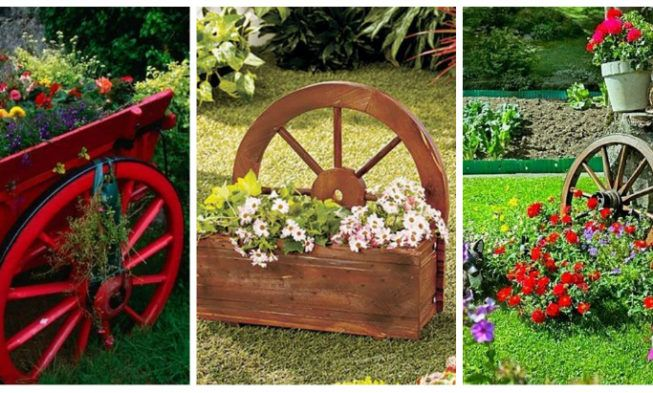 Decorations Made From Wagon Wheels Landscaping Ideas Front Yard Decor Wagon Wheel Decor Wagon Wheel