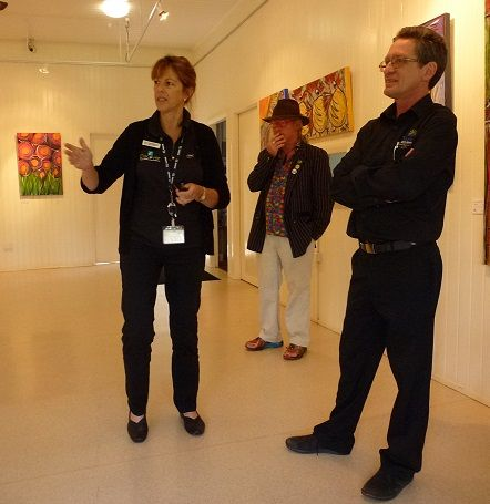 Chris Stannard from the Tanks Art Centre Cairns with Gwyneth and Tim - from the Tableland Regional Gallery
