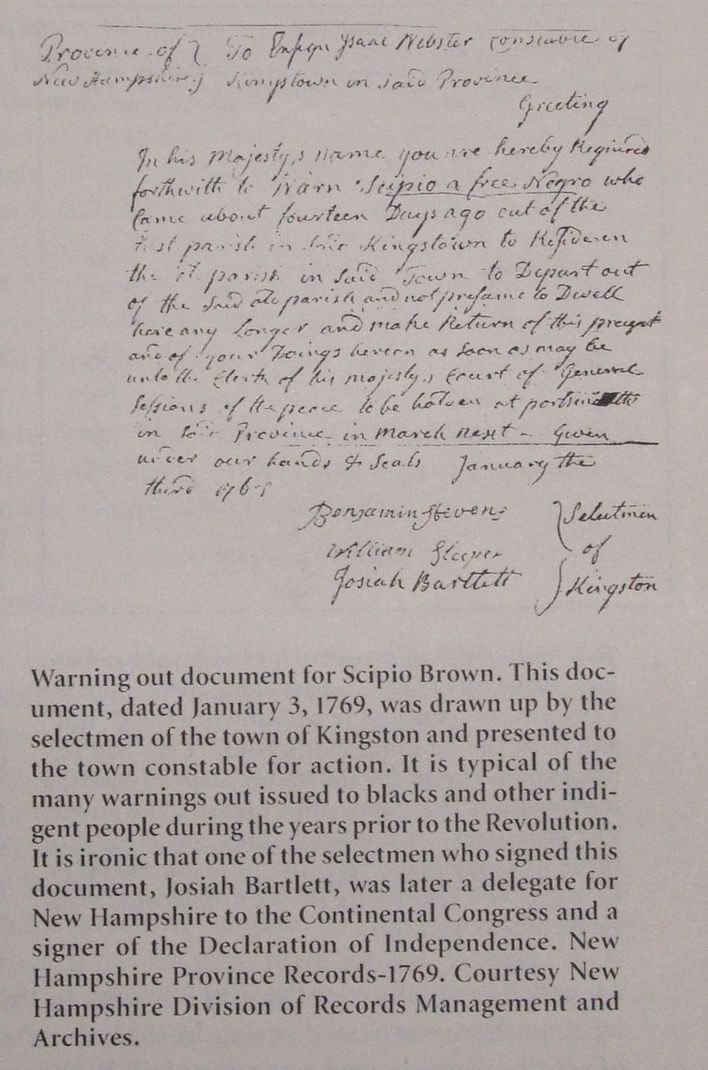 Warning letter to Black Revolutionary War -Scipio Brown who served - Warning Letter