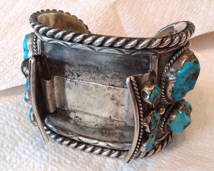 Native American Solid Metal Turquoise Watch Cuff Bracelet Band (no Watch) #Unbranded