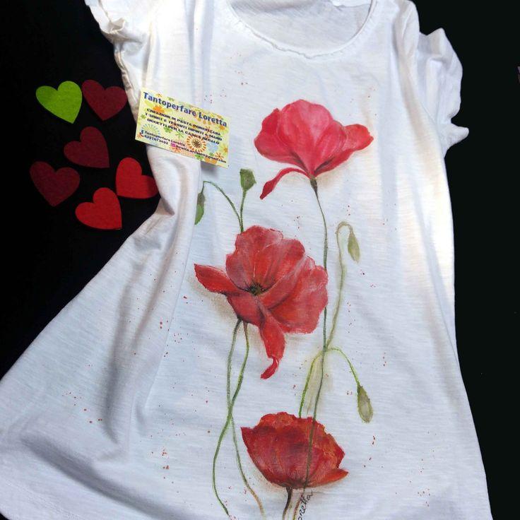 T- shirt dipinta a mano Papaveri rossi - Collezione Fiori : T-Shirt, canottiere di tantoperfare-loretta