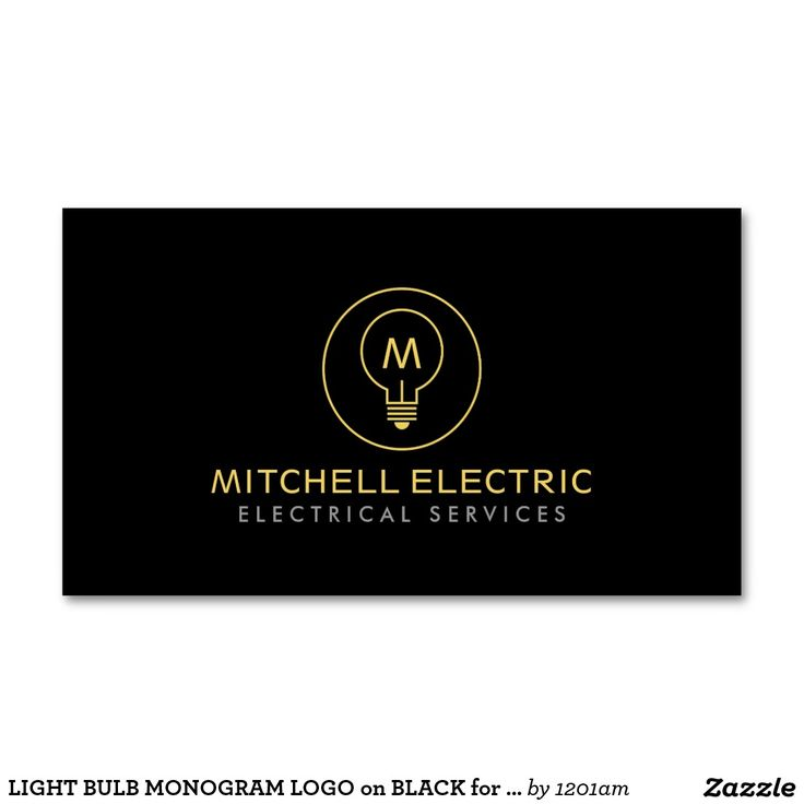 LIGHT BULB MONOGRAM LOGO on BLACK for ELECTRICANS Double-Sided Standard Business Cards (Pack Of 100)