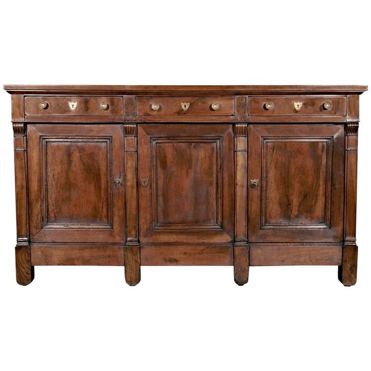 Antique French Solid Walnut Directoire Period Enfilade Buffet Handcrafted  By Talented Artisans From Lyon. Paneled Top Above Three Drawers And Three  Paneled ...