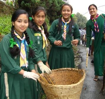Girl Guides from Kathmandu, Nepal, with a Ranger or Leader, 100th Girl Guide/Girl Scout Anniversary (2012)
