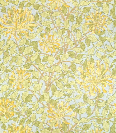 William Morris behang, een kopie hiervan zou heel mooi zijn voor een stukje muur. Of verschillende bloemige behangetjes ingelijst aan een witte muur