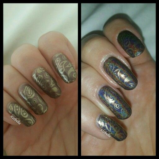 Emily de Molly Ground Control, Depend 4044 and Mo You-London plate Fashionista 11. Shown here with and without flash. :-D