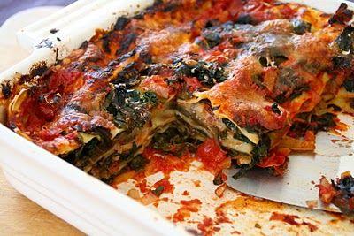 Lasagne med aubergine, spinat og mozzarella