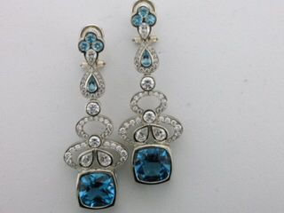 Exquisite Blue Topaz & Diamond Earrings custom made by Wong Ken's Jewellery in Calgary, AB Canada