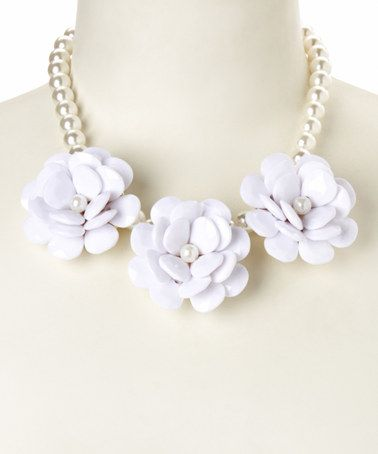 Look at this #zulilyfind! White Three Rose Pearl Bib Necklace by Simply Reese #zulilyfinds