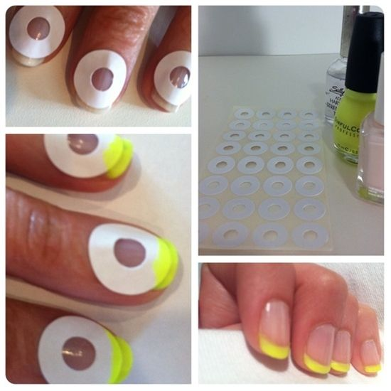 How to do a French Manicure… Effortlessly    Nothing beats a clean, crisp manicure, but they can get expensive at a salon. So here's a fail proof way how to do a french manicure, as inspired by this gorgeous a Rue La La Tumblr post. Well, why not neon? Of course, the tips could be any color, but we wanted to funkify a plain-jane manicure and tr - Click image to find more Hair & Beauty Pinterest pins