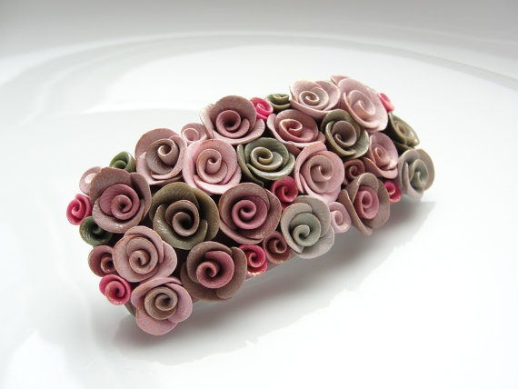 Polymer clay rose hair clip by fizzyclaret