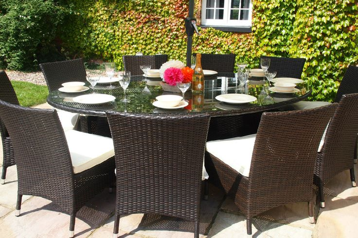 Oakita Royal 10 Seat Rattan Garden Furniture Oval Table with Dining Chairs