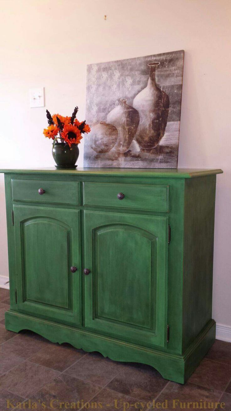 Antibes green buffet with a touch of Barcelona orange and black wax. Annie Sloan Chalk Paint by Karla's Creations - Up-cycled Furniture.