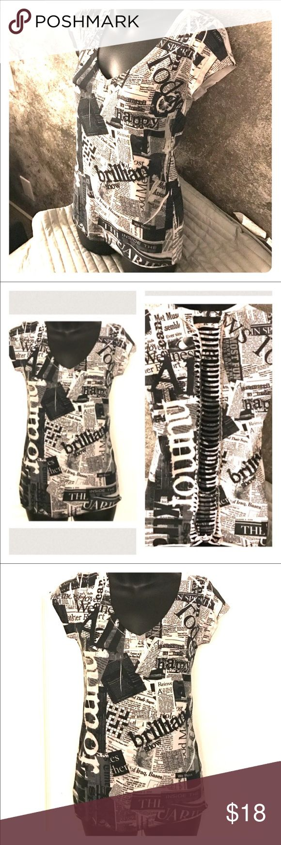 """Juniors M v-neck graphic newspaper cutout back Cool newspaper article v-neck juniors top. Has the cut out back as shown in the first photo. Unique and rare top. Size M . GUC. Measures approximately 15"""" without stretching in width in front and approximately in 23.5"""" length. Brand is Eastway. Bundle with my other items to receive even more discounts. Five star seller. Buy with confidence. Reasonable offers accepted. Special bundles made for buyers on request. Items from my personal closet…"""