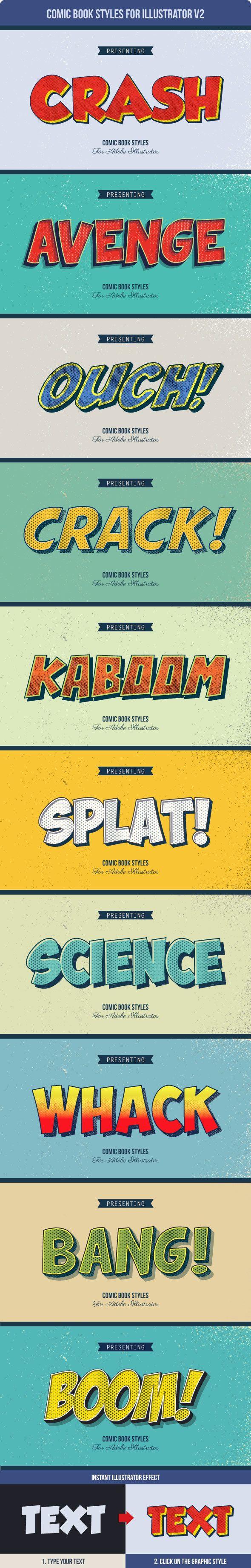 Comic Book Styles for Illustrator #texteffect Download: http://graphicriver.net/item/comic-book-styles-for-illustrator-v2/14318854?ref=ksioks
