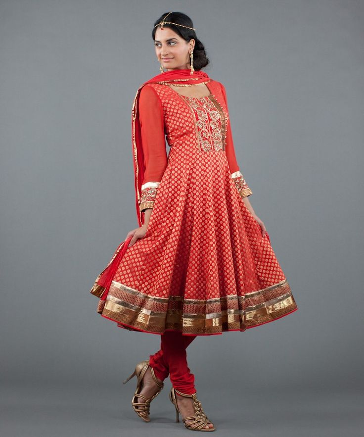 Red Brocade Salwar with Sequins and Gota Work. With the sequined yolk and gold loop buttons, and gota and brocade border, this salwar is great for a spin. Buy: $398 #Luxemi