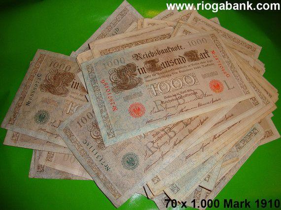 70 x 1.000 Mark Banknotes 1910 German Reich, P 44b & P 45b, Deutsches Reich www.riogabank.com Banknoten, Banknotes, Papiergeld, Paper Money, Geld, Money, Dinero, Billetes, Billets, Bankbiljetten, Banconote, Dinheiro, Notas, Soldi, Argent, Sammeln, Sammler, Collectors