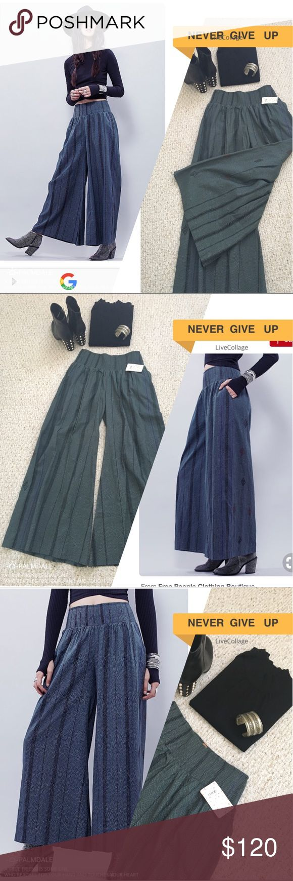 """Free People 1️⃣Something Wide Leg Palazzo Pants+📌 Free People One Something Wide Leg Palazzo Pants Featuring Thick Elastic Waist Band & Gorgeous Print Design. Labeled S/P. Approximately 29.5/30"""" Inseam. Color: Slate. Pair w/Chunky Heel & Fitted Top. Achieve This Look & Strut Your Stuff! Actual Style/Pants Pictured On Free People Model. +📌Free People Adorable Logo Print Red, White & Blue Fabric """"Keepsake"""" Shopping Bag w/Long Shoulder Strap  Included!! Free People Pants Wide Leg"""