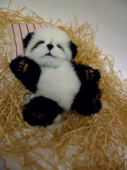 Мишки Тедди ручной работы. Ярмарка Мастеров - ручная работа. Купить Панда,13 см.Резерв.. Handmade. Чёрно-белый