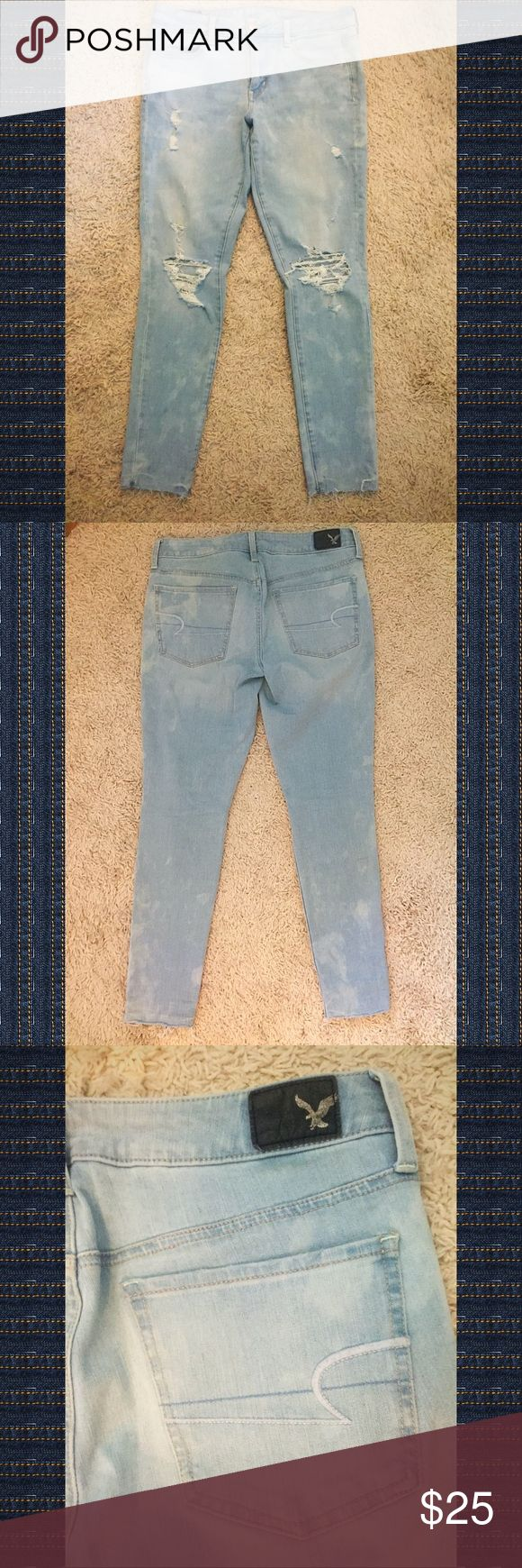 AMERICAN EAGLE, 360 Super Stretch distressed jeans AMERICAN EAGLE, 360 Super Stretch jeans, size 10 Short, distressed. Great used condition. American Eagle Outfitters Jeans Straight Leg