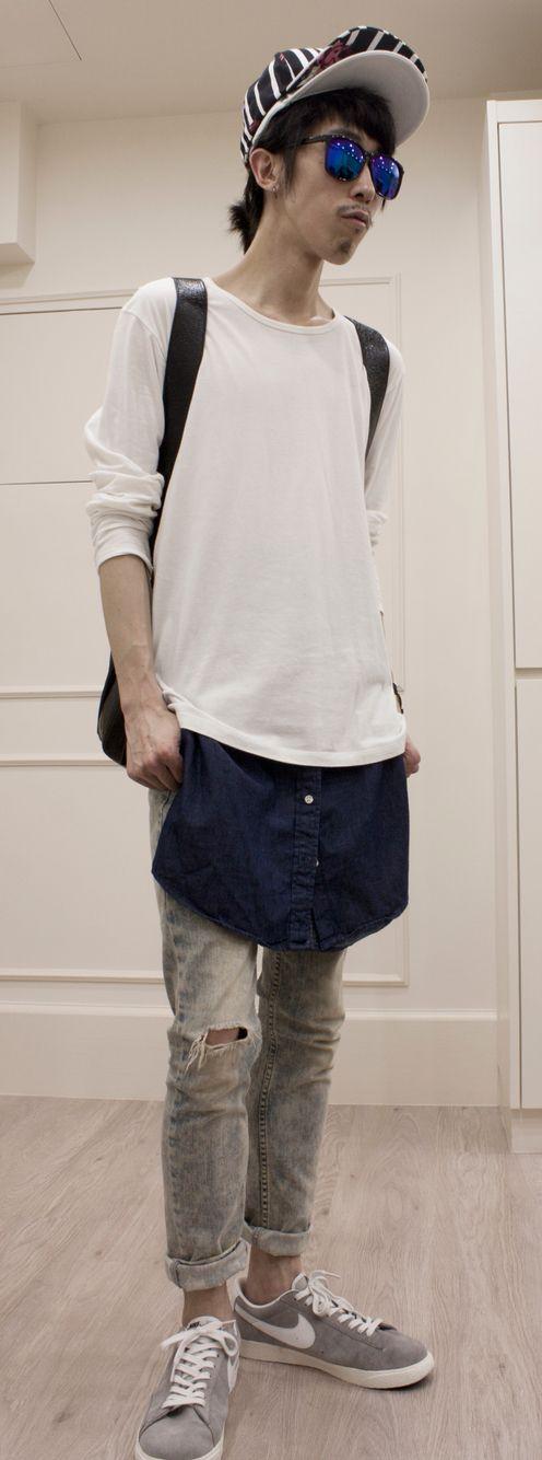 Top cap: #supreme Bottom cap: N/A Long sleeves: #muji Shirt on waist: #uniqlo Jeans: #moto Trainers: #Nike Rucksack: #Balenciaga