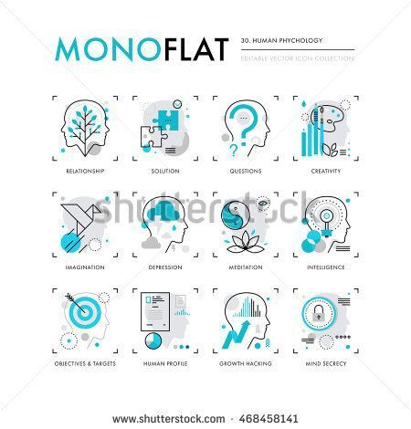 Psychology : Infographics icons collection of human intelligence psychology models mental o