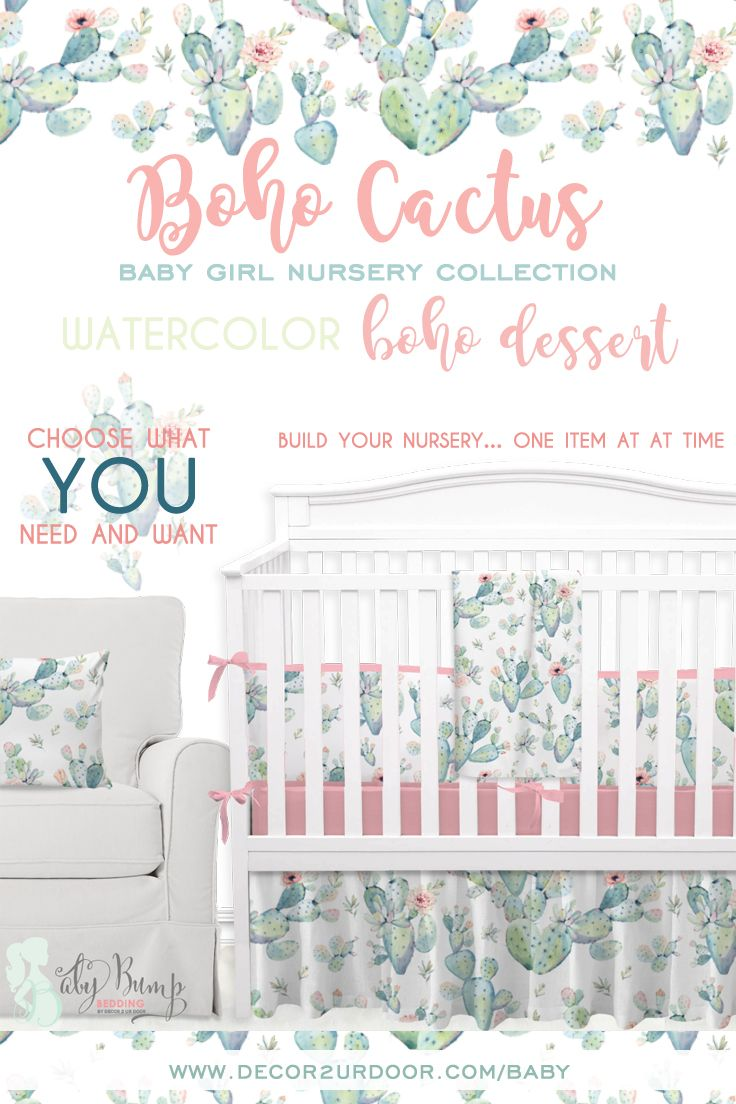 Personalized Toddler Blanket in Pink and Green Cactus Personalized Baby Crib Blanket Baby Name Blanket Desert Cactus Blooms Collection