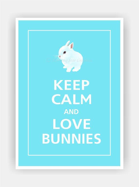Mantener la calma y amor conejitos Cute Baby Bunny por PosterPop