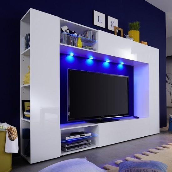 Living Room Tv Wall Unit Berlin Tv Stand In White With High Gloss Fronts And Led Lighting