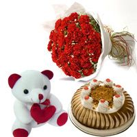 A nice bouquet of 50 Red carnations in good packing with 500gm Butter Scotch Cake and 6 inch height teddy bear.  http://www.fnp.com/flowers/midnight-delivery/carnation-of-paradise-midnight/--clI_2-cI_1089-pI_17484-i_17484.html