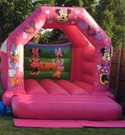 This mini mouse and friends theme Bouncy Castle is perfect if you are looking for a real eye caching theme , it definitely stands out as it is vibrant pink with hand painted art work of mini mouse and friends on the front panels and a beautiful hand painted design on the back wall . Comes with a sewn in rain cover and it's suitable for up to 6-8 children at a time.