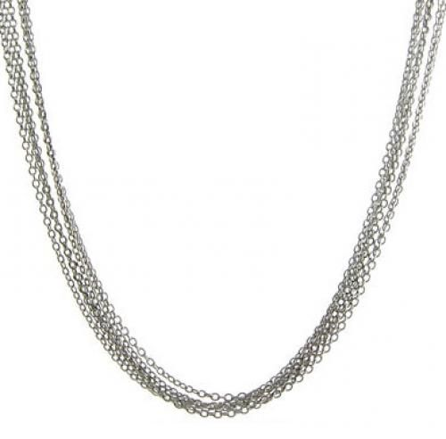 Sterling Silver 016 Gauge Five Strands Rolo Chain Necklace 16in 18in