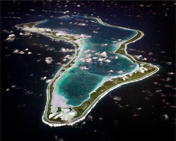 Atol Diego Garcia, o maior do arquipélago de Chagos, última parte restante do Território Britânico do Oceano Índico, Reino Unido.
